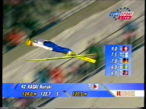 Noriaki Kasai - 135,5 m - Lillehammer 1998 - Crash!!