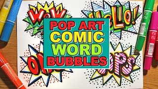How to Draw Word Bubbles in Pop Art Comic Style - Easy Way to Draw Cute Message