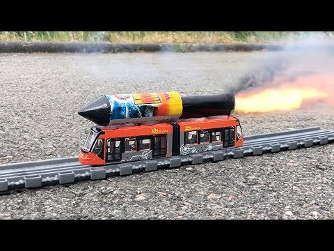 Rocket powered Toy Tram City Liner !! Amazing Rail Launch