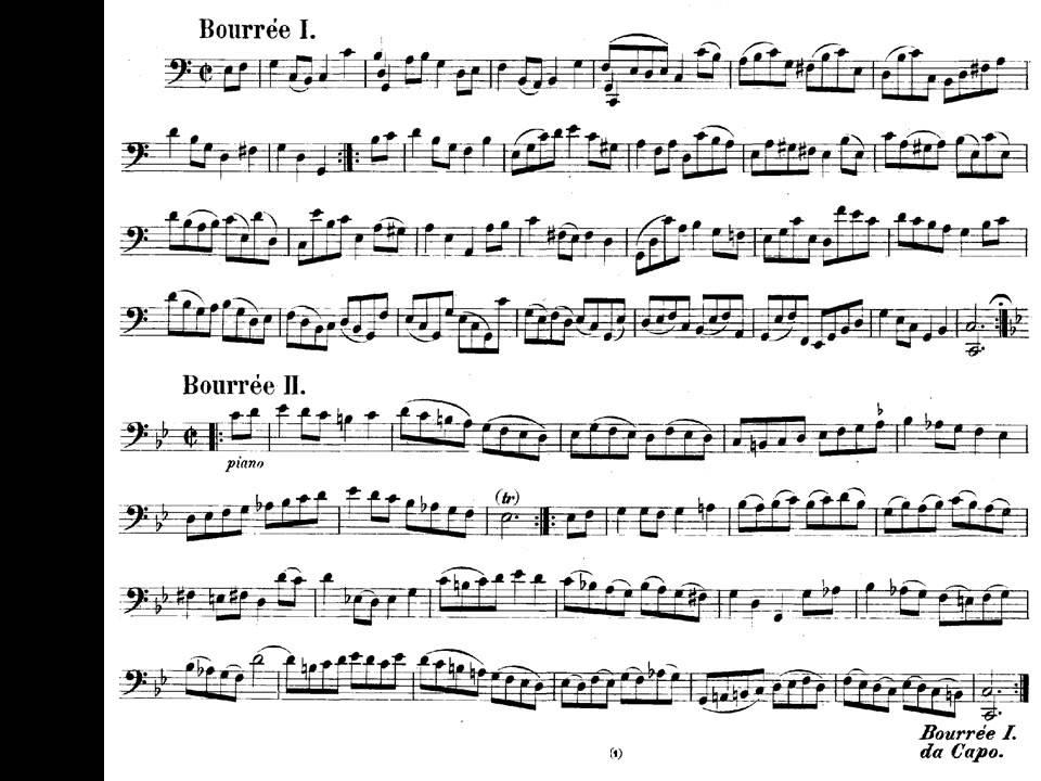 Guitar bach cello suite 1 guitar sheet music : J.S. Bach. Cello Suites. Suite nº 3 en Do mayor BWV 1009 V-Bourrée ...