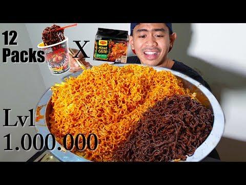 TERSIKSA!! TANBOY KUN MUKBANG 12 BUNGKUS MIE TERPEDAS MALAYSIA | GHOST PEPPER NOODLE