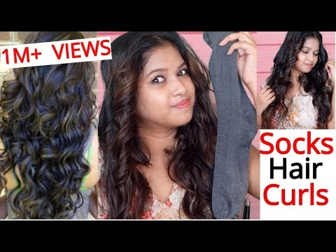 How to Curls Hair using SOCK    No Heat    Heatless curls