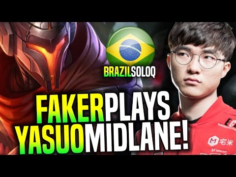 FAKER Plays YASUO in Brazil SoloQ! - SKT T1 Faker SoloQ Playing Yasuo Midlane! | SKT T1 Replays