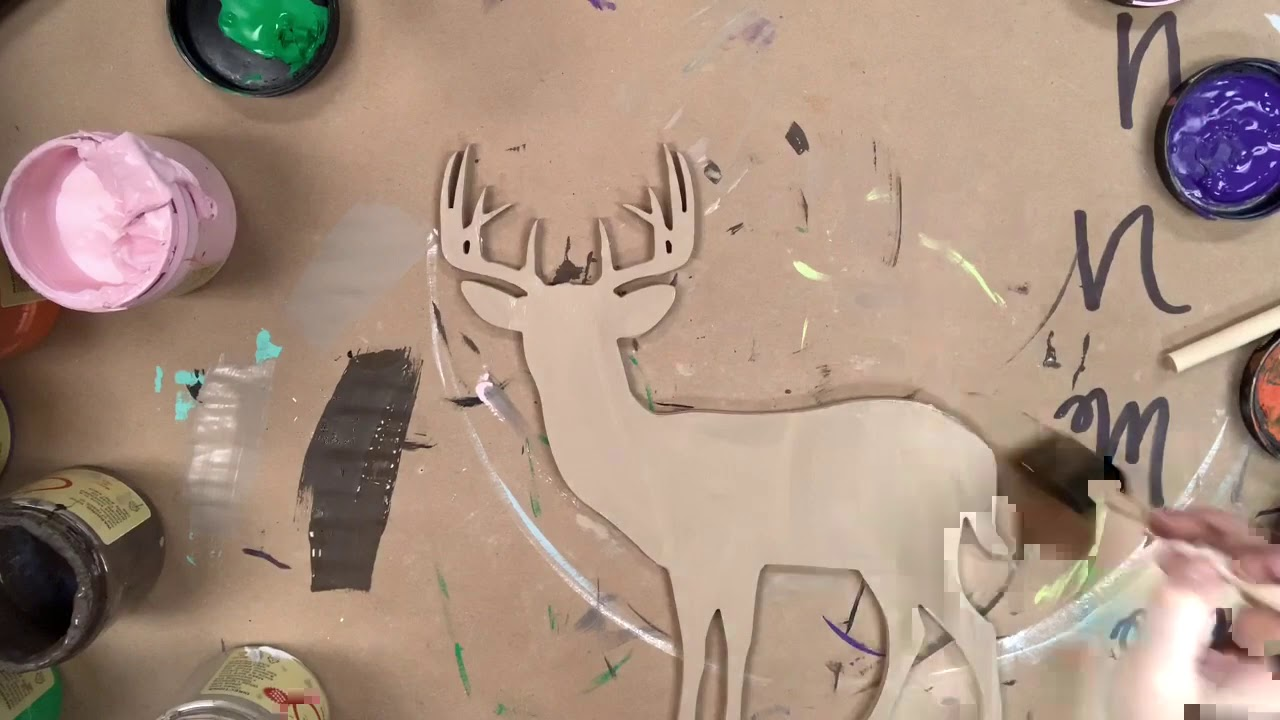 10 Point Buck Unfinished Cutout, Wooden Shape, Paintable MDF DIY Craft s1i4