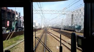 【平日朝だけの神戸線快速 昼間とは異なり外側線を使用するため、緩行列車に詰まらせられることは無い 大阪~住吉】 thumbnail