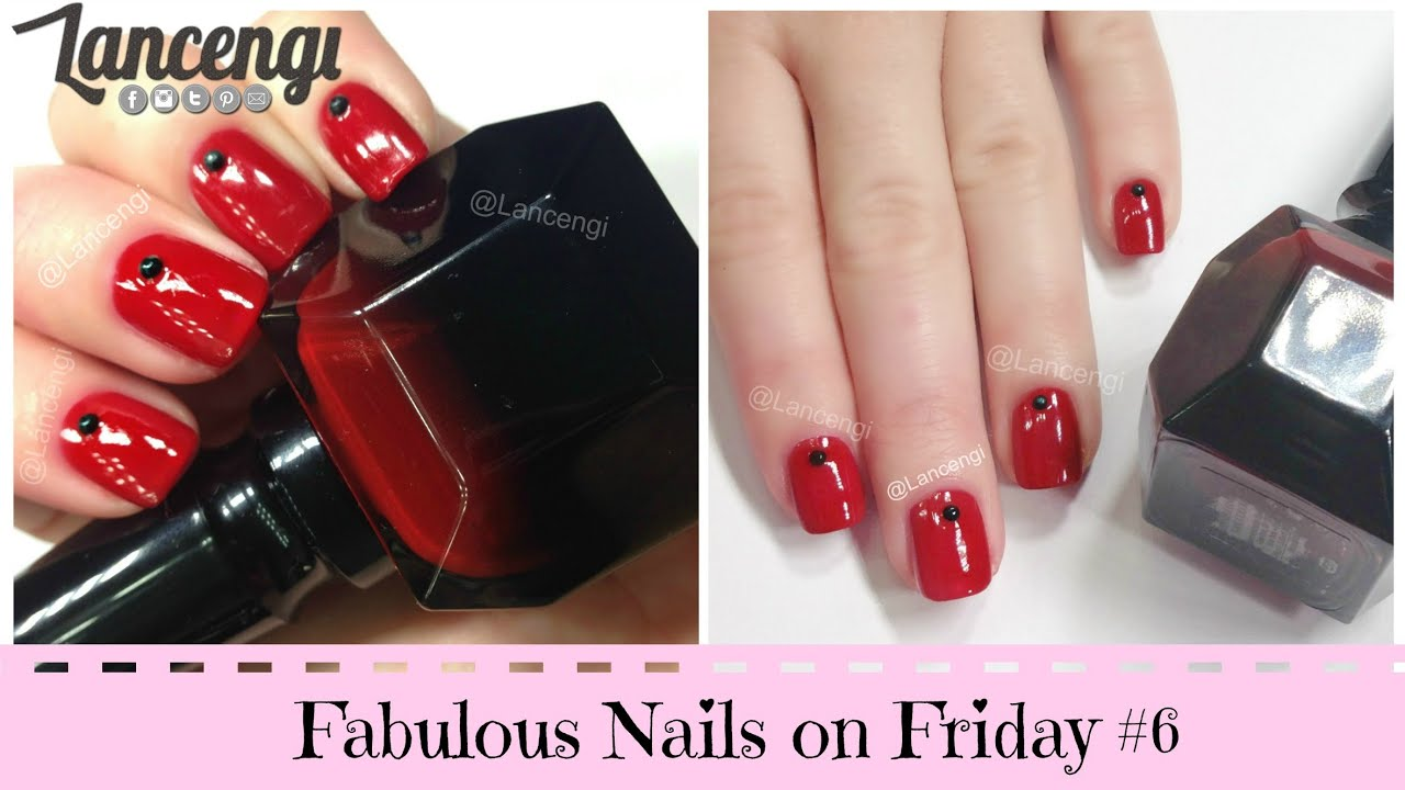 DIY Cute & Easy Vampy Nail Art #6 - Louboutin Review - Rhinestones ...