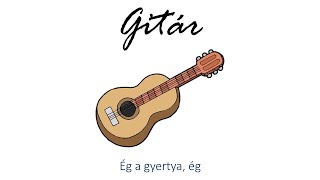 Hangszer ovi - Ég a gyertya, ég (gitár) / Hungarian children song (cat, cow, dog, animal)