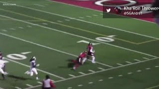 Watch: Football player running the wrong way gets tackled by teammate
