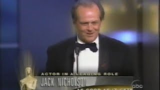 Jack Nicholson winning Best Actor for As Good As It Gets