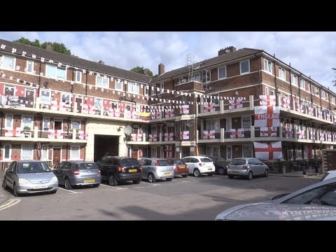 South London Estate Emblazoned With England Flags