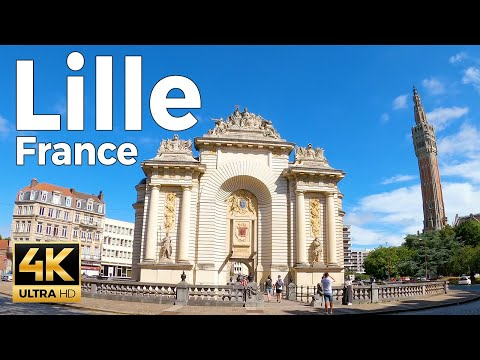 Lille, France Walking Tour (4k Ultra HD 60fps)