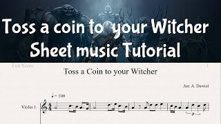 TOSS A COIN TO YOUR WITCHER - Sheet Music Notes! Tutorial for Violin, Flute etc... Easy to play!