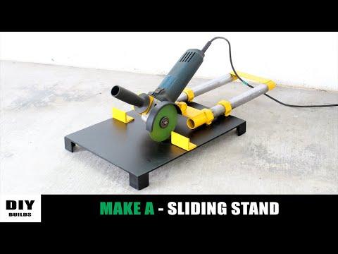 Make A Sliding Angle Grinder Stand | Angle Grinder Miter Saw | Diamleon Diy Builds