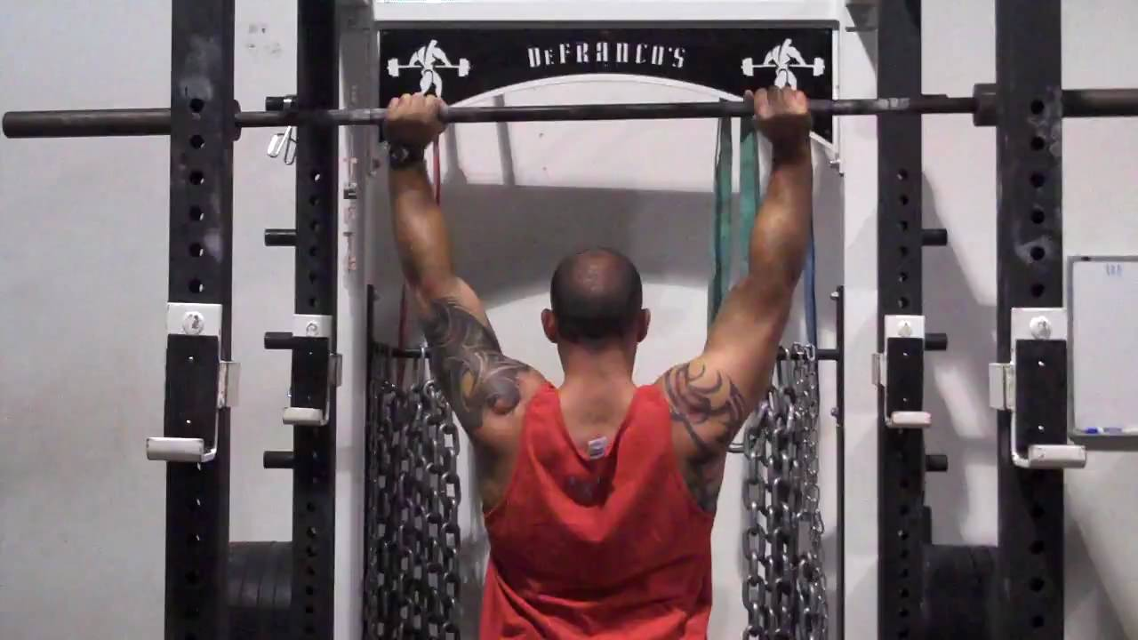 DeFrancosGym com - Exercise Index: Barbell Overhead shrugs