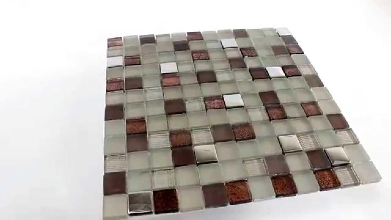 Mosaiksteine Glasmosaik Fliesen Braun Beige Silber Mix ...
