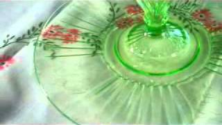 Depression Glass Tablescapes - Cameo, Miss America, Mayfair with Tiffin Cherokee Rose Stemware