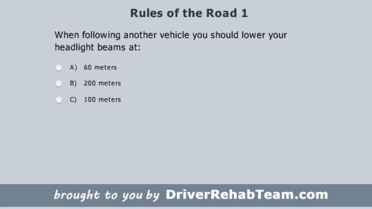 Ontario Driving Practice Test: Rules of the Road 1 - YouTube