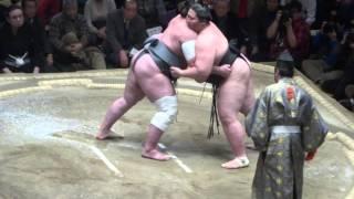 20160119 大相撲初場所10日目 栃ノ心 vs 逸ノ城.