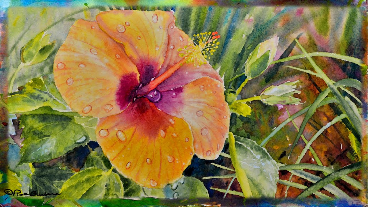 How To Paint The Orange Hibiscus Flower In Watercolor Part 1 Youtube