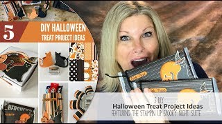 DIY How to make 5 Matching Halloween Candy Treat Projects & Giveaway w/Stampin Up Spooky Night