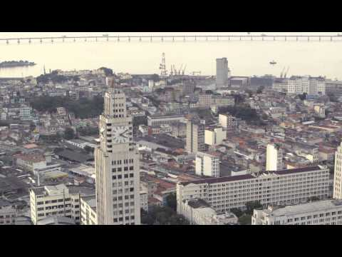 Aerial shot of various buildings in Rio de Janeiro, Brazil