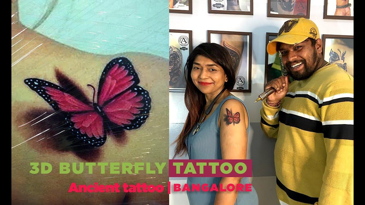 Butterfly 3D tattoo with Shweta Kashyap ft. Prashant   Ancient Tattoo studio