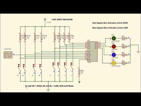 4 Bit Shift Register using 74194 - YouTube