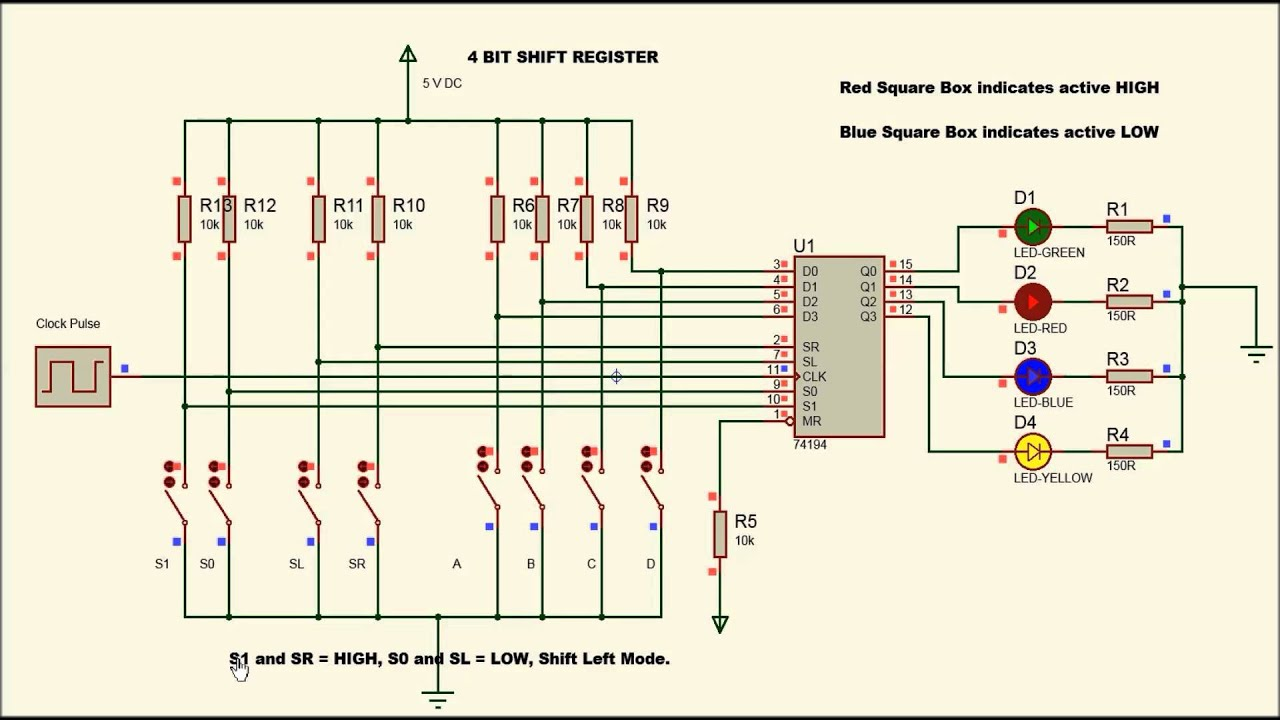 small resolution of 4 bit shift register using 74194