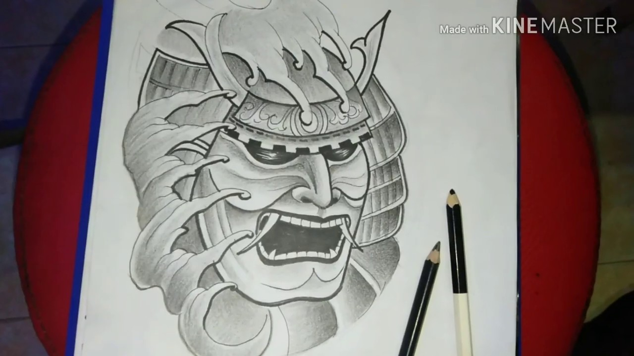 how to draw a samurai mask-drawing a mask samurai - youtube  youtube