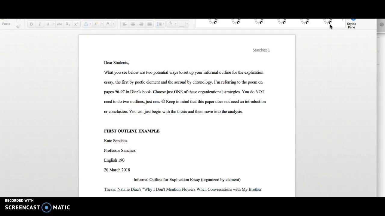 ENGL 29 Explication Essay Assignment Overview