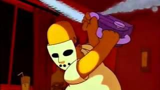homer-chainsaw,hockey mask