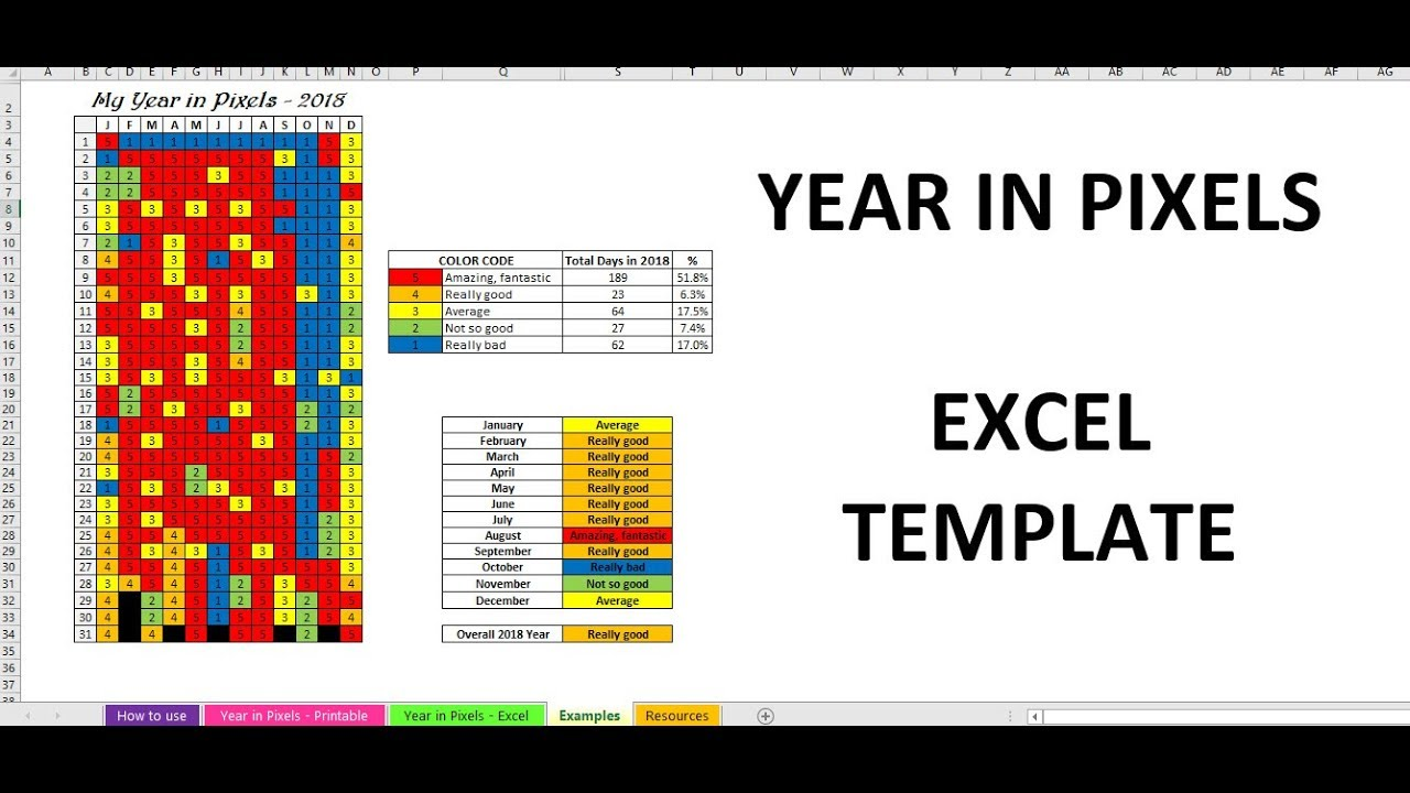 Year in Pixels 2018 Mood Tracker Excel template - YouTube