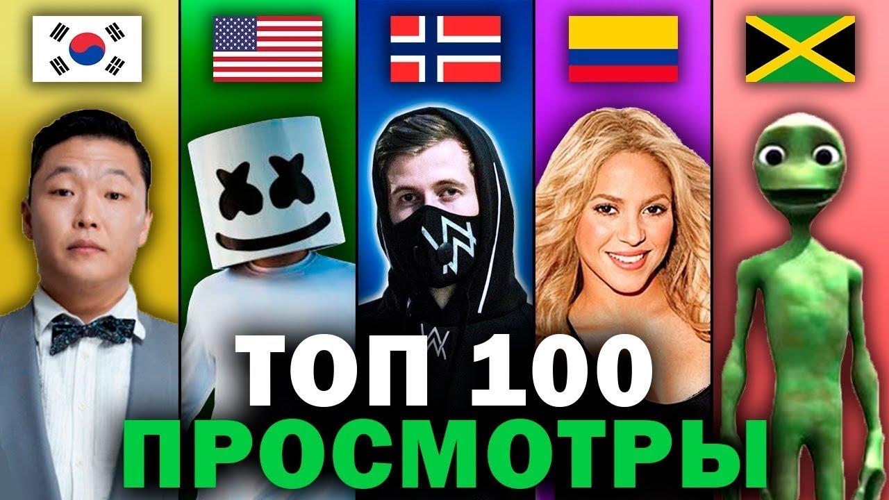 ТОП 100 Мировых Клипов по Просмотрам 2007-2021 | Лучшие зарубежные песни и хиты | Февраль 2021
