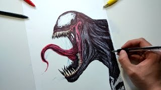 Venom Drawing with ballpoint pen
