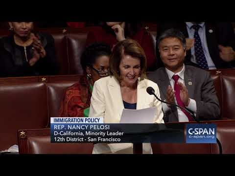 Rep. Nancy Pelosi (D-CA) finds out she's given the longest-continuous speech in the House (C-SPAN)