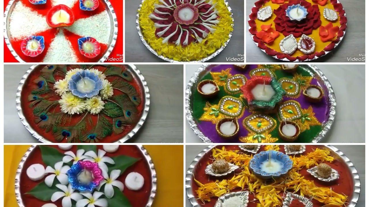 7 decorative pooja thali ideas simple and easy pooja for Aarti thali decoration with pulses