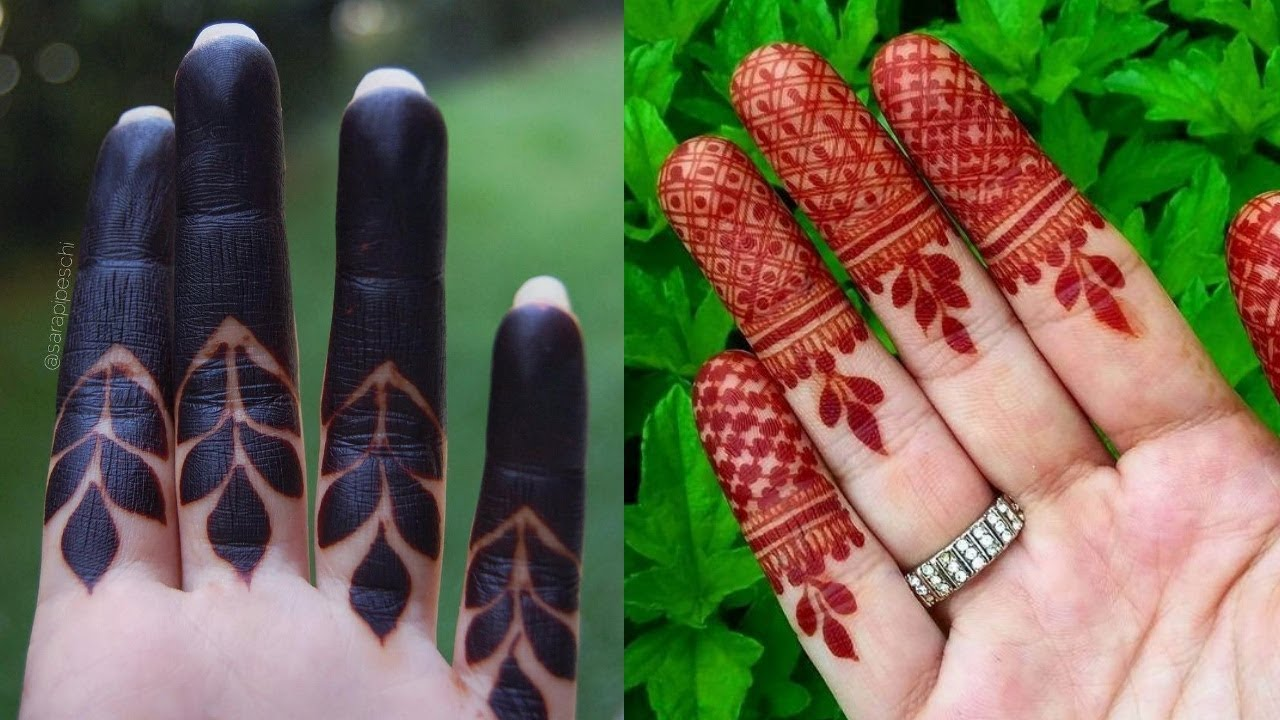 easy mehndi designs for fingers front side