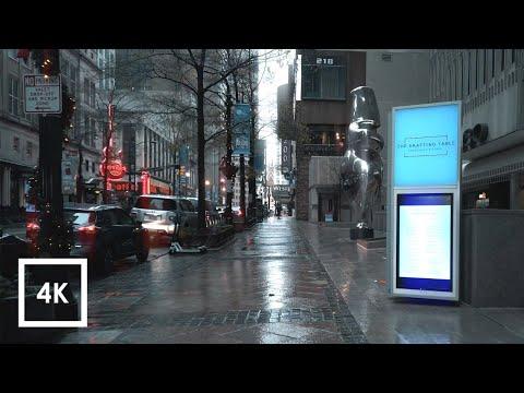 Walking In The Rain, Binaural Rain And Umbrella Sounds, Downtown Atlanta, Georgia | ASMR