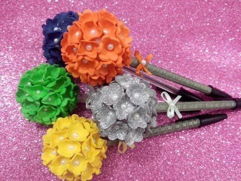 Como fazer ponteira de flor em Eva para lápis/caneta