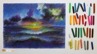 """Курс рисования """"Сухая пастель"""" Начинающие. Урок 5-2. Морской пейзаж."""