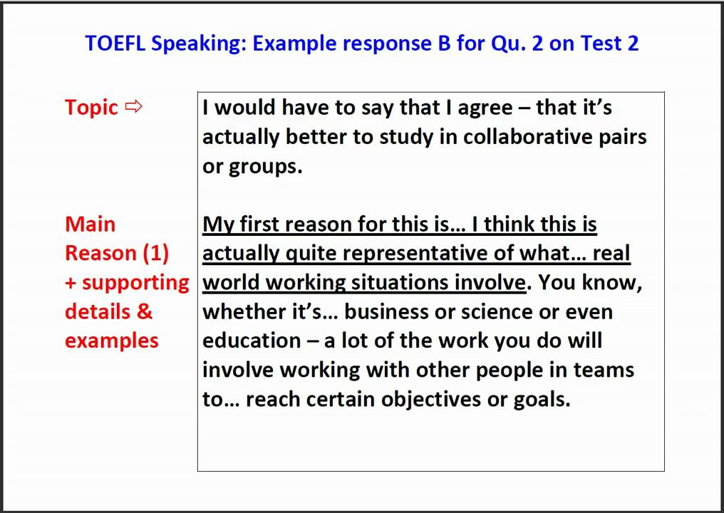 TOEFL Speaking Question 2 - Example answer with script - YouTube