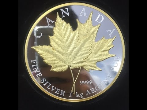 1kilo Canada 250$ Maple Leaf Forever Silver Coin Gilded