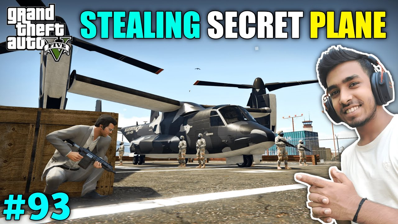 Download I STOLE SECRET FIGHTER PLANE FROM MILITARY BASE | GTA V GAMEPLAY #93