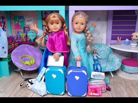 Packing American Girl Doll Frozen Elsa And Anna With Suitcases And Bags ~ Frozen Closet Tour