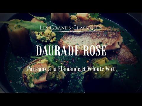 les-grands-classiques-:-daurade-rose,-poireaux-à-la-flamande-et-velouté-vert