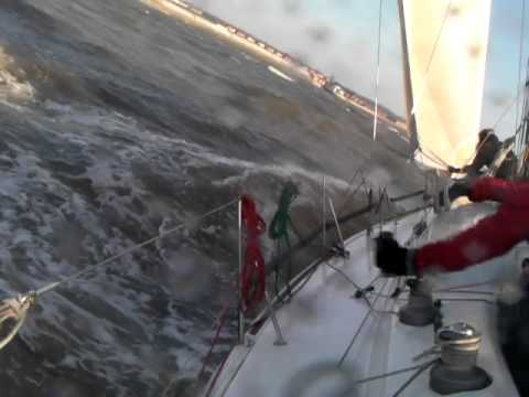 Onboard Diva a Prima 38 February Yacht Racing on the Mersey Strong Winds
