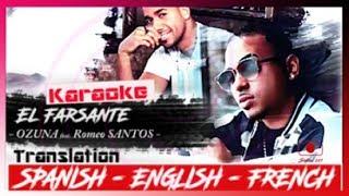 OZUNA feat. Romeo SANTOS - El Farsante (Remix) [ Karaoke - Letra - Lyrics ] TRADUCTION