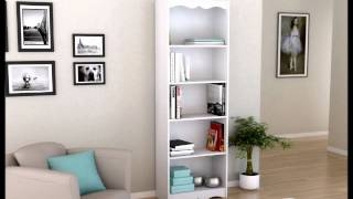 Sonax Hawthorn 72 Inch Tall Bookcase, Frost White
