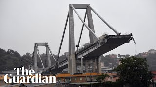 Aftermath of motorway bridge collapse in Genoa