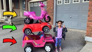Sally Collecting Colors Cars with Power Wheels Toys for Kids
